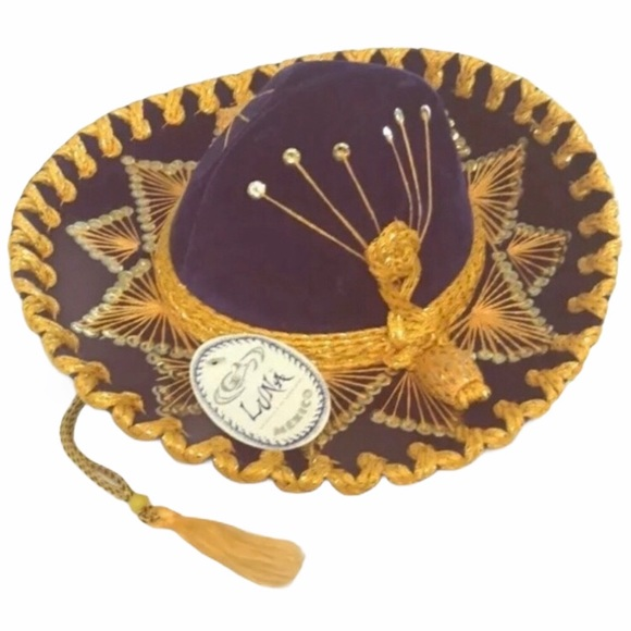 PURPLE SOMBRERO PACK WITH POM POM EDGE WHOLESALE LOT MEXICAN WESTERN